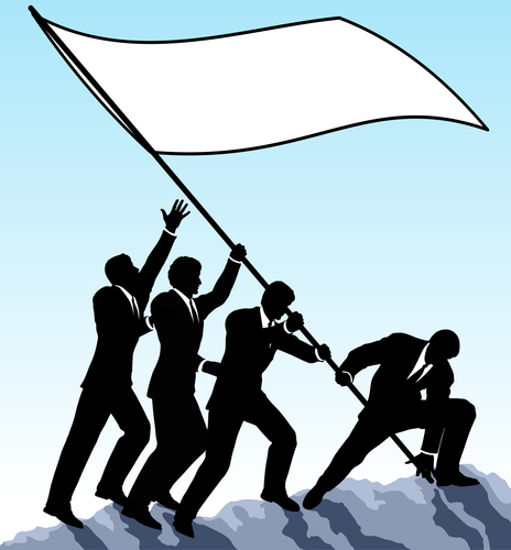 Editable vector illustration of businessmen raising a flag with all elements as separate objects
