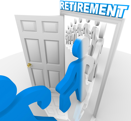 A line of people and workers stepping through a doorway marked Retirement to retire and change color, becoming transformed to represent the transition out of t