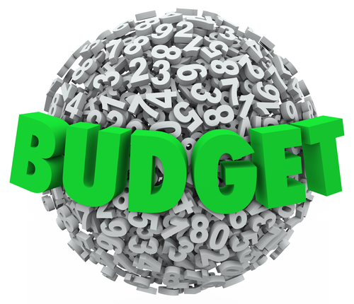 Budget word in green 3d letters on a ball or sphere of numbers to illustrate accounting processes and reducing costs for company, business or personal finances