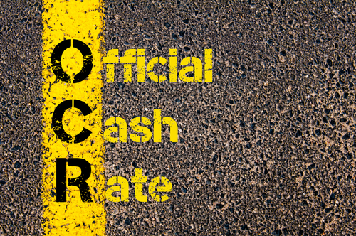 Concept image of Accounting Business Acronym OCR Official Cash Rate written over road marking yellow paint line.