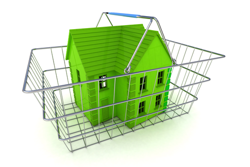 A Colourful 3d Rendered Buying a House Concept Illustration showing a green coloured house in a shopping basket