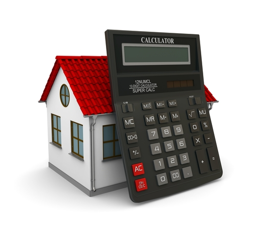 Calculator leaned on a little house with red roof. 3d rendering